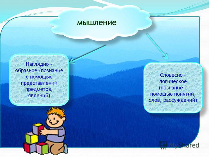 Наглядно – образное (познание с помощью представлений предметов, явлений) Словесно – логическое (познание с помощью понятий, слов, рассуждений)