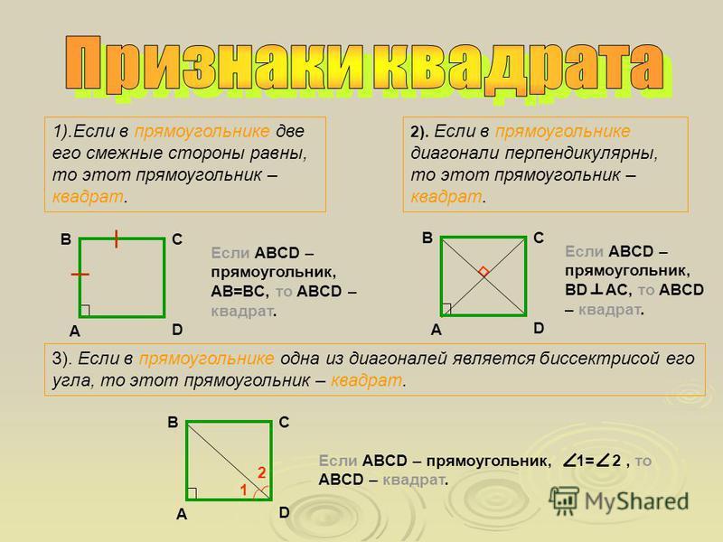 1).Если в параллелограмме диагонали равны, то этот параллелограмм – прямоугольник. A B C D Если ABCD – параллелограмм, ВD=AC, то ABCD – прямоугольник. 2).Если в параллелограмме один из его углов прямой, то этот параллелограмм – прямоугольник. A B C D