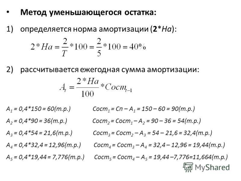 Метод уменьшающегося остатка: 1)определяется норма амортизации (2*На): 2)рассчитывается ежегодная сумма амортизации: А 1 = 0,4*150 = 60(т.р.) Сост 1 = Сп – А 1 = 150 – 60 = 90(т.р.) А 2 = 0,4*90 = 36(т.р.) Сост 2 = Сост 1 – А 2 = 90 – 36 = 54(т.р.) А
