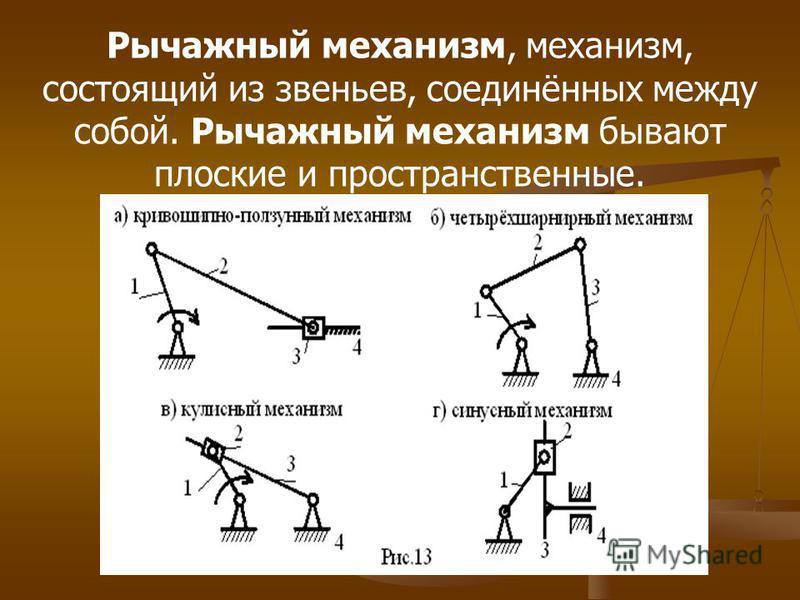 Рычажный механизм, механизм, состоящий из звеньев, соединённых между собой. Рычажный механизм бывают плоские и пространственные.
