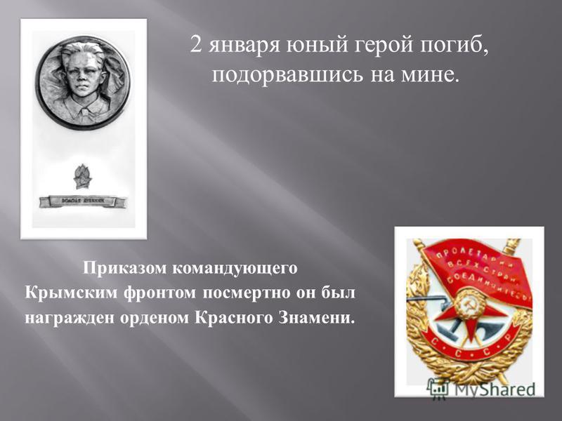 Приказом командующего Крымским фронтом посмертно он был награжден орденом Красного Знамени. 2 января юный герой погиб, подорвавшись на мине.