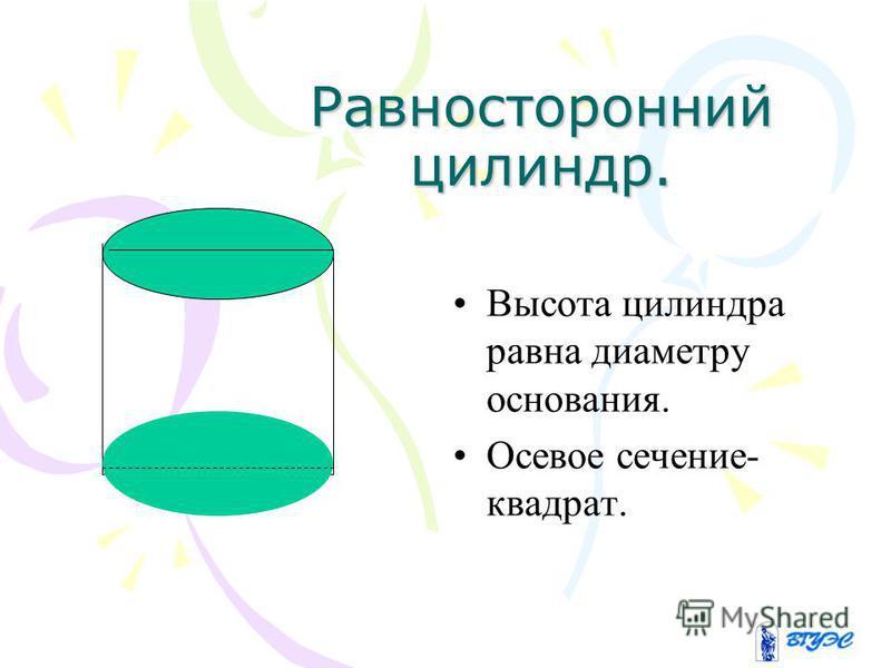 Равносторонний цилиндр. Высота цилиндра равна диаметру основания. Осевое сечение- квадрат.