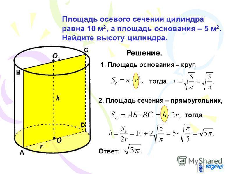 Площадь осевого сечения цилиндра равна 10 м 2, а площадь основания – 5 м 2. Найдите высоту цилиндра. Решение. 1. Площадь основания – круг, тогда 2. Площадь сечения – прямоугольник, тогда Ответ: A B C D r