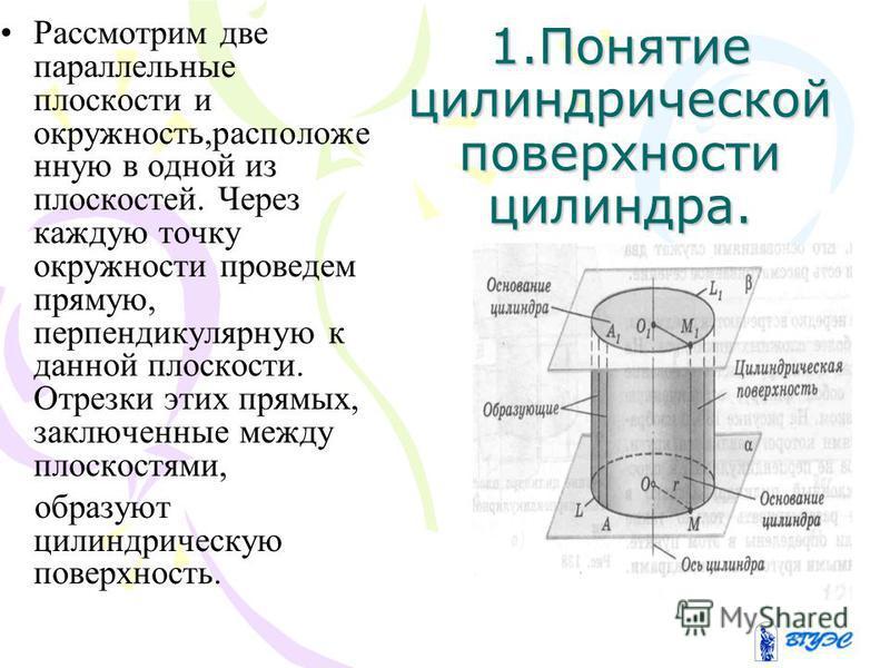 1. Понятие цилиндрической поверхности цилиндра. Рассмотрим две параллельные плоскости и окружность,расположенную в одной из плоскостей. Через каждую точку окружности проведем прямую, перпендикулярную к данной плоскости. Отрезки этих прямых, заключенн