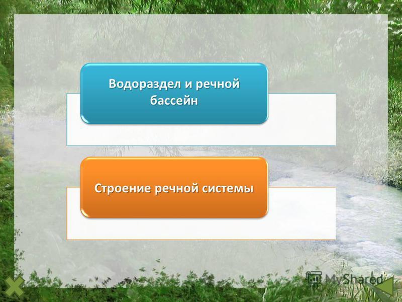 Водораздел и речной бассейн Водораздел и речной бассейн Строение речной системы Строение речной системы