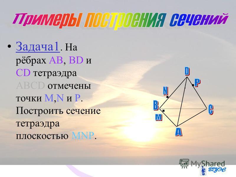 Изобразите тетраэдр DABC и на ребрах DB, DC, и BC отметьте соответственно точки М, N и К. Постройте точку пересечения прямой КN и плоскости ABD. D С А В K N M M 1