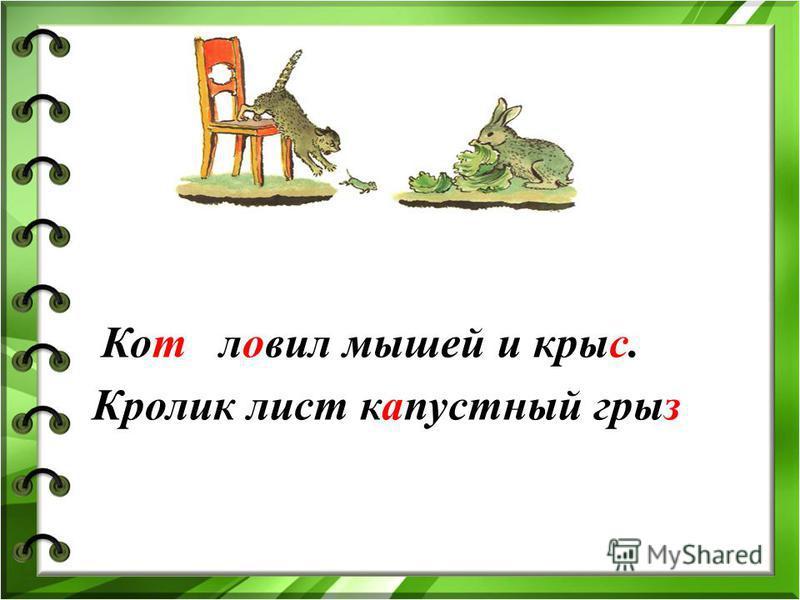 Кот ловил мышей и крысс. Кролик лист капостный игрыз
