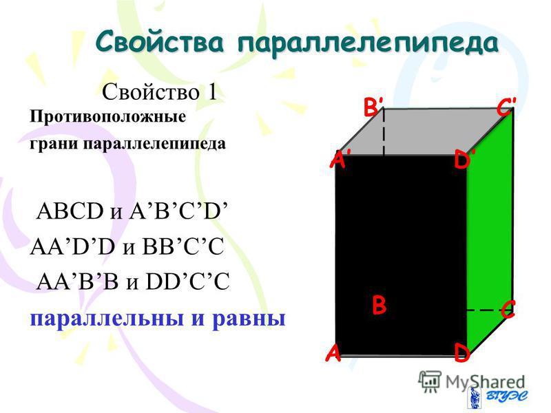 Свойства параллелепипеда Свойства параллелепипеда Свойство 1 Противоположные грани параллелепипеда АВСD и АВСD ААDD и ВВСС ААВВ и DDСС параллельны и равны B C AD DA C B