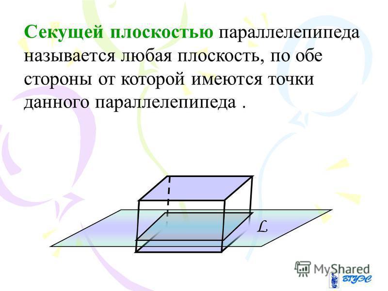 Секущей плоскостью параллелепипеда называется любая плоскость, по обе стороны от которой имеются точки данного параллелепипеда. L