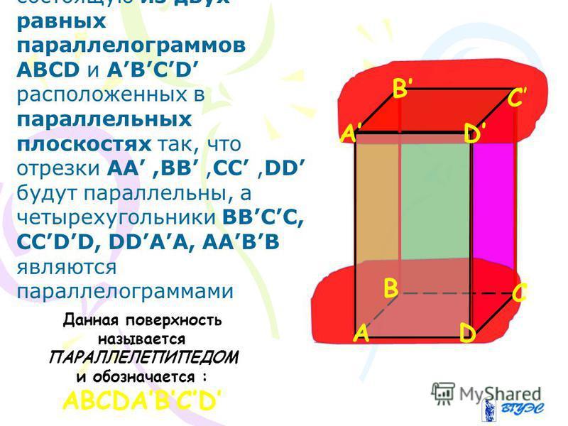 Рассмотрим поверхность состоящую из двух равных параллелограммов АВСD и ABCD расположенных в параллельных плоскостях так, что отрезки AA,BB,CC,DD будут параллельны, а четырехугольники BBCC, CCDD, DDAA, AABB являются параллелограммами Данная поверхнос