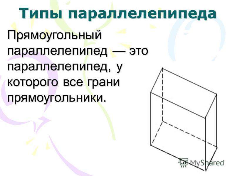 Типы параллелепипеда Прямоугольный параллелепипед это параллелепипед, у которого все грани прямоугольники.