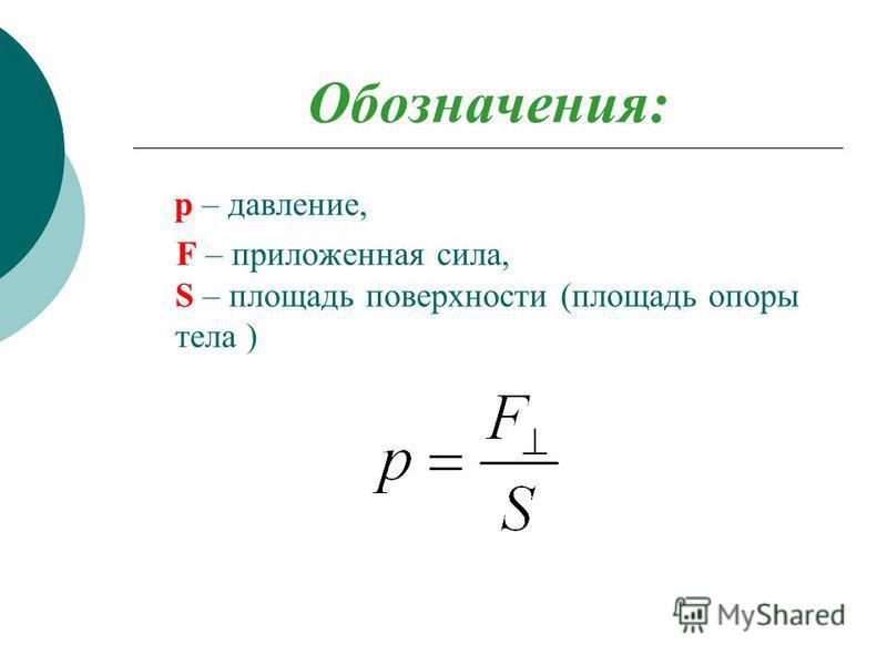 Обозначения: p – давление, F – приложенная сила, S – площадь поверхности (площадь опоры тела )
