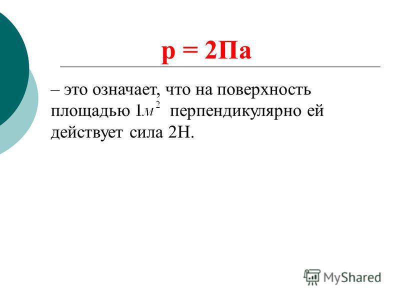 p = 2Па – это означает, что на поверхность площадью перпендикулярно ей действует сила 2Н.