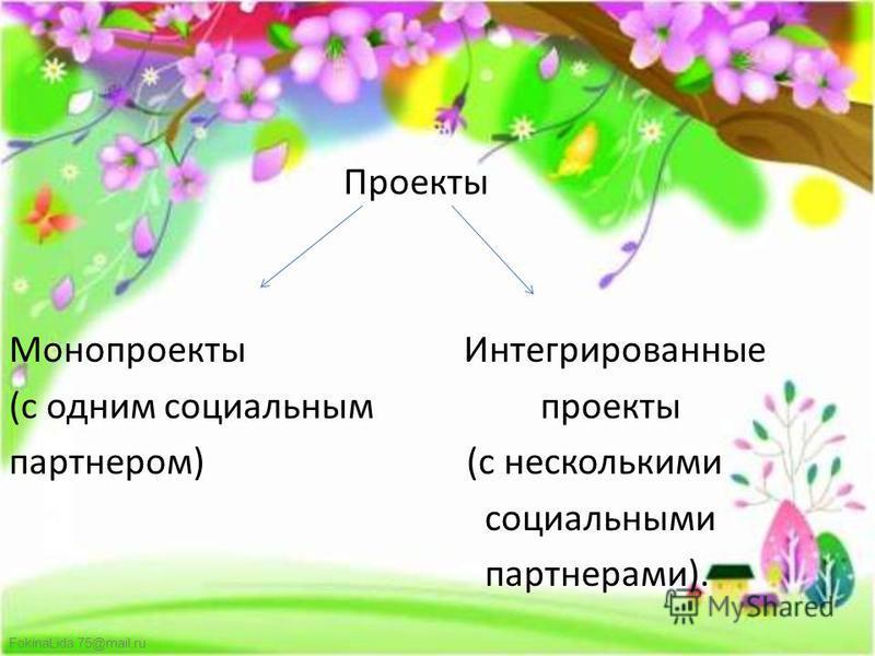 FokinaLida.75@mail.ru Проекты Монопроекты Интегрированные (с одним социальным проекты партнером) (с несколькими социальными партнерами).