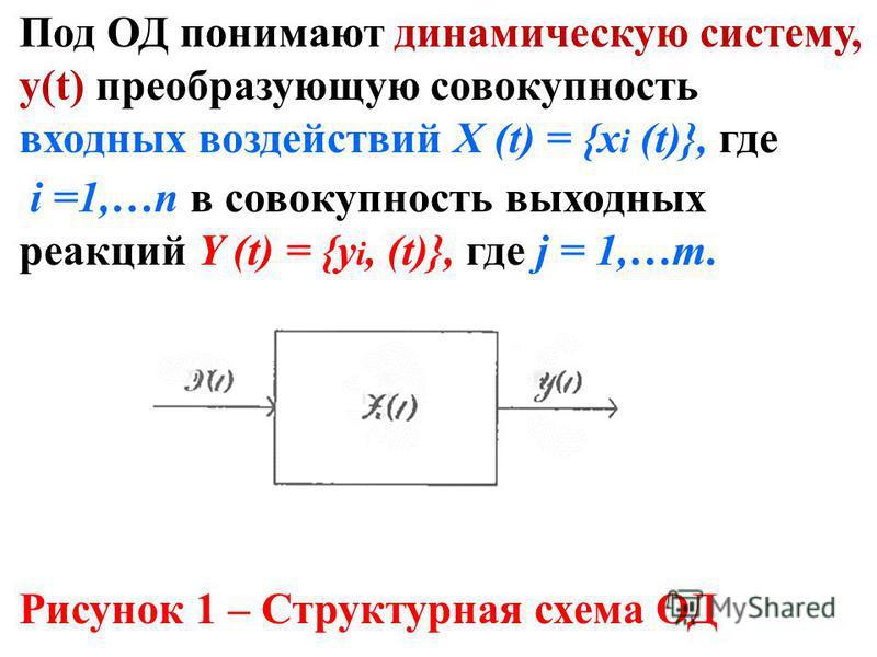 Под ОД понимают динамическую систему, у(t) преобразующую совокупность входных воздействий X (t) = {х i (t)}, где i =1,…п в совокупность выходных реакций Y (t) = {y i, (t)}, где j = 1,…m. Рисунок 1 – Структурная схема ОД