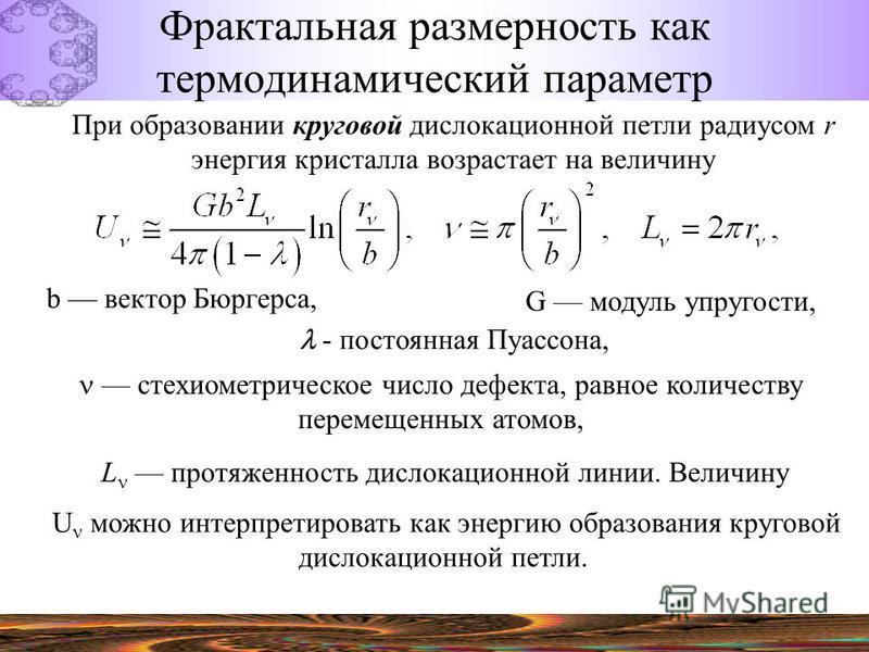 Фрактальная размерность как термодинамический параметр При образовании круговой дислокационной петли радиусом r энергия кристалла возрастает на величину G модуль упругости, b вектор Бюргерса, - постоянная Пуассона, стехиометрическое число дефекта, ра