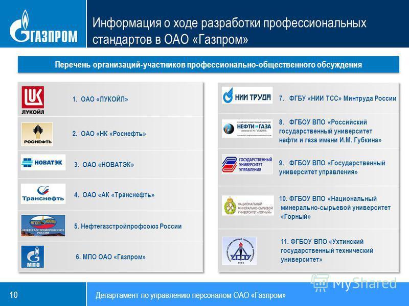Департамент по управлению персоналом ОАО «Газпром» 10 Перечень организаций-участников профессионально-общественного обсуждения Информация о ходе разработки профессиональных стандартов в ОАО «Газпром»