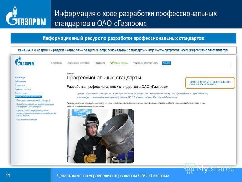 11 Департамент по управлению персоналом ОАО «Газпром» Информационный ресурс по разработке профессиональных стандартов Программно-аппаратный комплекс Минтруда России «Профессиональные стандарты» сайт ОАО «Газпром» – раздел «Карьера» – раздел «Професси