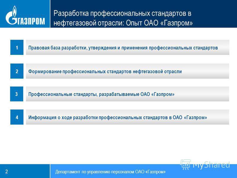 Департамент по управлению персоналом ОАО «Газпром» 2 1 2 Правовая база разработки, утверждения и применения профессиональных стандартов Формирование профессиональных стандартов нефтегазовой отрасли Профессиональные стандарты, разрабатываемые ОАО «Газ