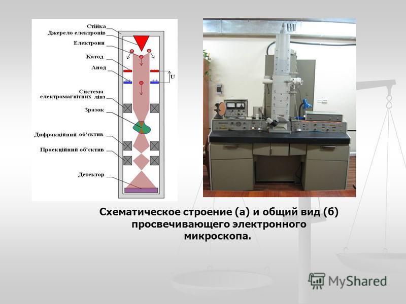 Схематическое строение (а) и общий вид (б) просвечивающего электронного микроскопа.