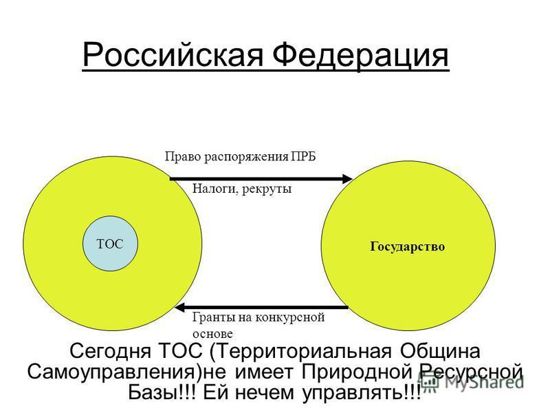Российская Федерация Сегодня ТОС (Территориальная Община Самоуправления)не имеет Природной Ресурсной Базы!!! Ей нечем управлять!!! ТОС Государство Право распоряжения ПРБ Налоги, рекруты Гранты на конкурсной основе