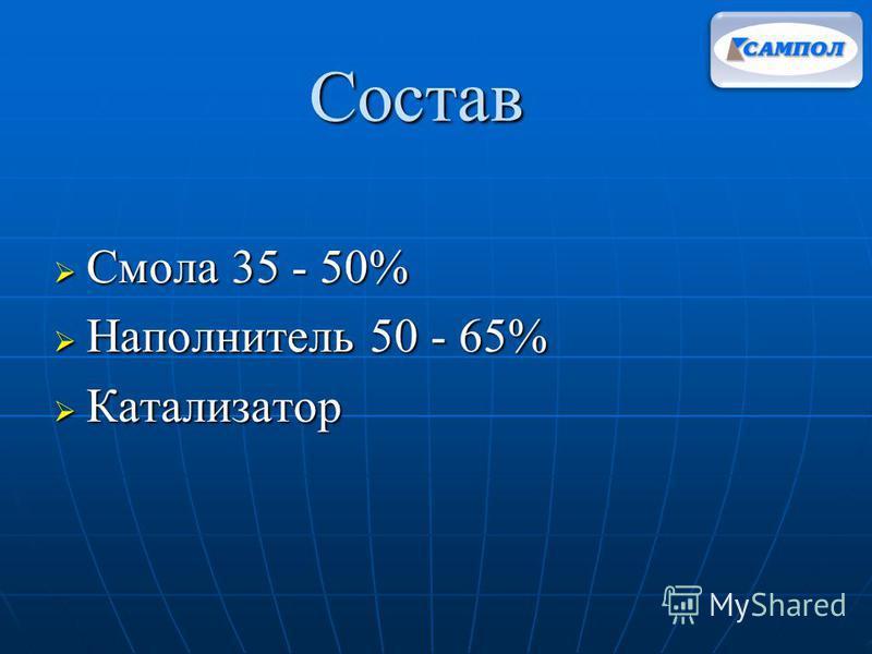 Состав Смола 35 - 50% Смола 35 - 50% Наполнитель 50 - 65% Наполнитель 50 - 65% Катализатор Катализатор