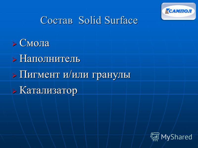Состав Solid Surface Смола Смола Наполнитель Наполнитель Пигмент и/или гранулы Пигмент и/или гранулы Катализатор Катализатор