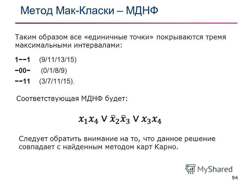 Метод Мак-Класки – МДНФ 94 11 (9/11/13/15) 00 (0/1/8/9) 11 (3/7/11/15). Таким образом все «единичные точки» покрываются тремя максимальными интервалами: Соответствующая МДНФ будет: Следует обратить внимание на то, что данное решение совпадает с найде