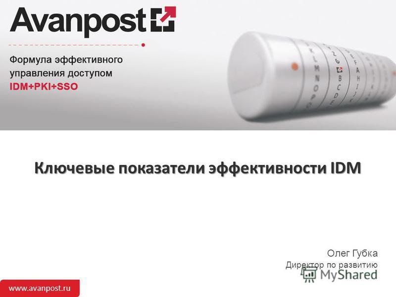 www.avanpost.ru Ключевые показатели эффективности IDM Олег Губка Директор по развитию