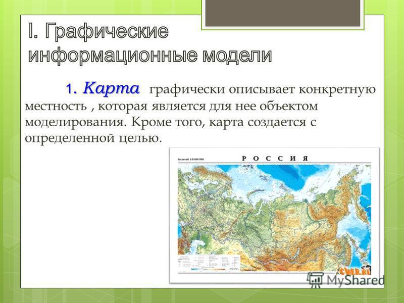 1. Карта 1. Карта графически описывает конкретную местность, которая является для нее объектом моделирования. Кроме того, карта создается с определенной целью.