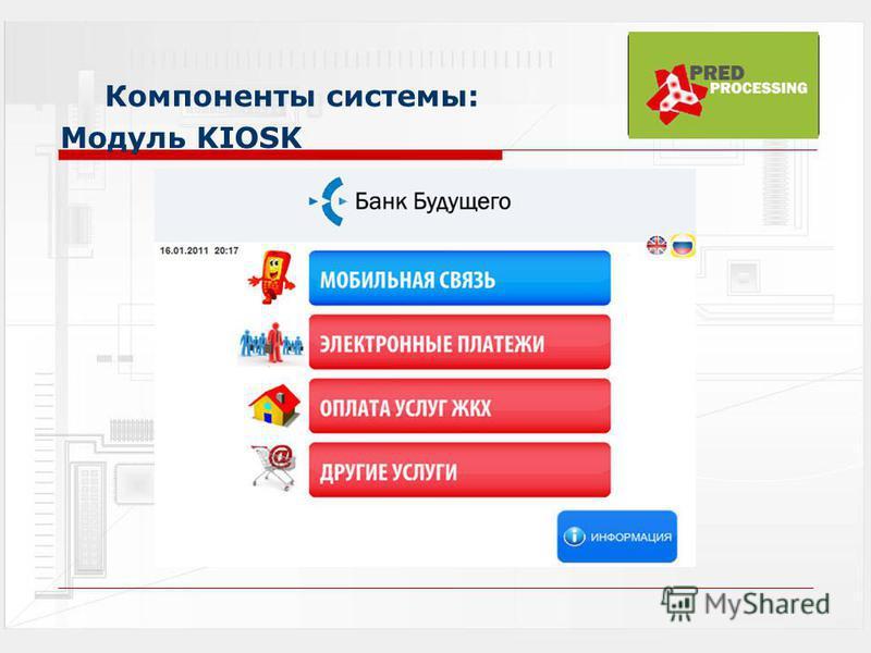 Компоненты системы: Модуль KIOSK