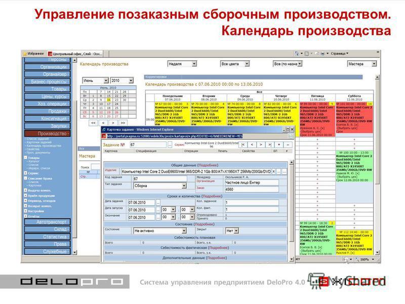 Управление позаказным сборочным производством. Календарь производства