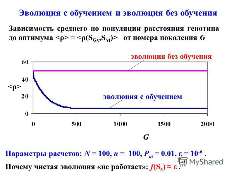 Параметры расчетов: N = 100, n = 100, P m = 0.01, ε = 10 -6. Почему чистая эволюция «не работает»: f(S k ) ε. Эволюция с обучением и эволюция без обучения Зависимость среднего по популяции расстояния генотипа до оптимума = от номера поколения G эволю
