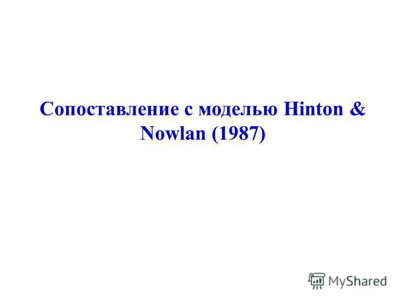 Сопоставление с моделью Hinton & Nowlan (1987)
