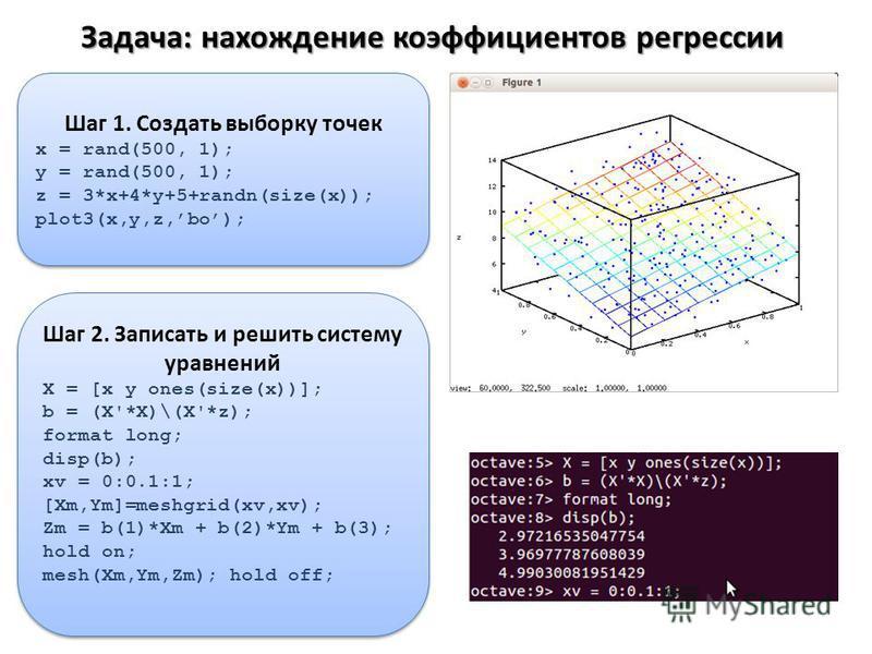 Задача: нахождение коэффициентов регрессии Шаг 1. Создать выборку точек x = rand(500, 1); y = rand(500, 1); z = 3*x+4*y+5+randn(size(x)); plot3(x,y,z,bo); Шаг 1. Создать выборку точек x = rand(500, 1); y = rand(500, 1); z = 3*x+4*y+5+randn(size(x));