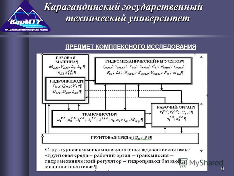 6 ПРЕДМЕТ КОМПЛЕКСНОГО ИССЛЕДОВАНИЯ Карагандинский государственный технический университет