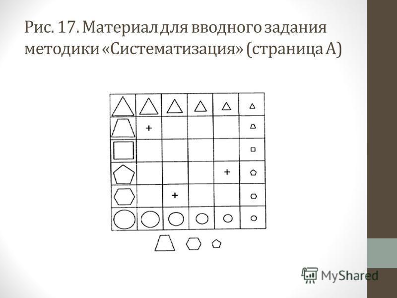 Рис. 17. Материал для вводного задания методики «Систематизация» (страница А)