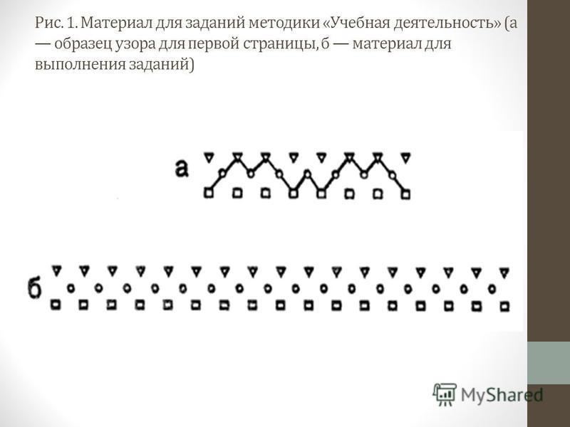 Рис. 1. Материал для заданий методики «Учебная деятельность» (а образец узора для первой страницы, б материал для выполнения заданий)