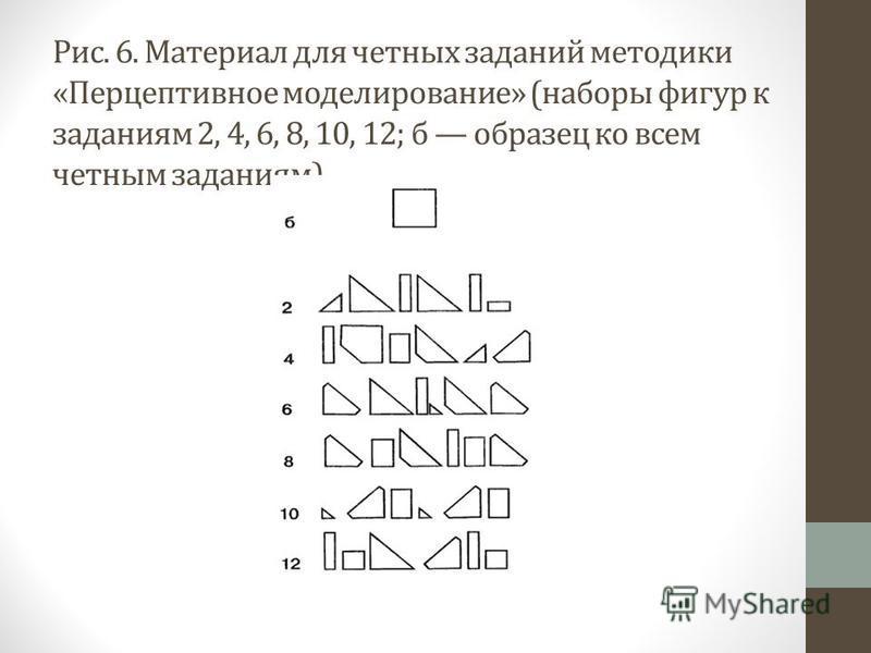 Рис. 6. Материал для четных заданий методики «Перцептивное моделирование» (наборы фигур к заданиям 2, 4, 6, 8, 10, 12; б образец ко всем четным заданиям)
