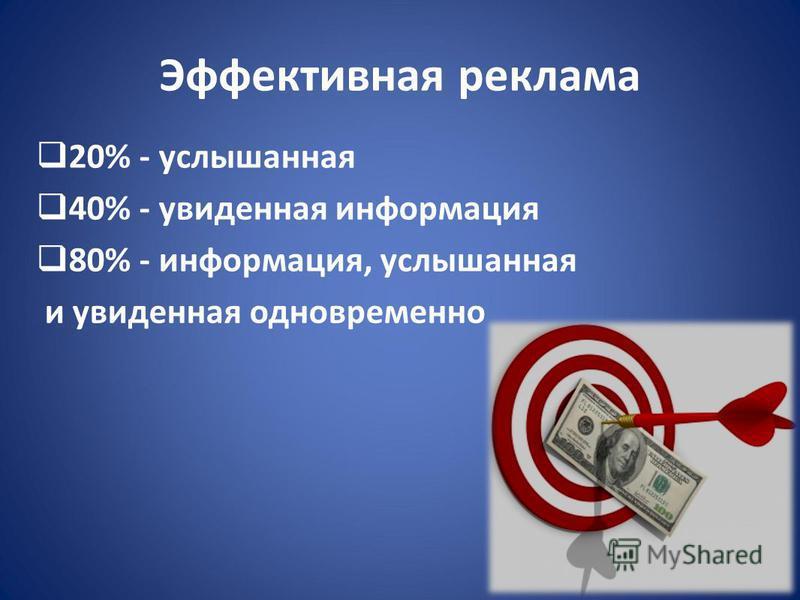 Эффективная реклама 20% - услышанная 40% - увиденная информация 80% - информация, услышанная и увиденная одновременно
