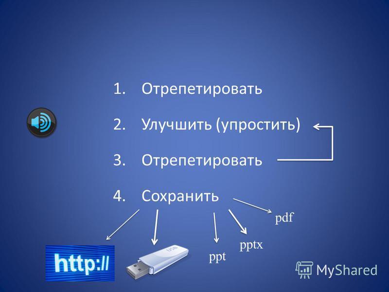 1. Отрепетировать 2. Улучшить (упростить) 3. Отрепетировать 4. Сохранить ppt pptx pdf