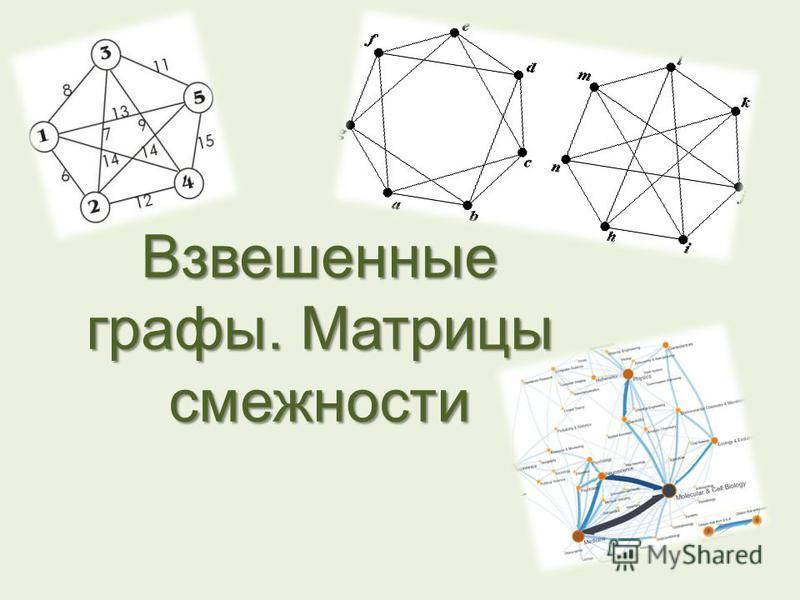 Взвешенные графы. Матрицы смежности