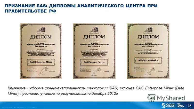 Copyright © 2013, SAS Institute Inc. All rights reserved. ПРИЗНАНИЕ SAS: ДИПЛОМЫ АНАЛИТИЧЕСКОГО ЦЕНТРА ПРИ ПРАВИТЕЛЬСТВЕ РФ Ключевые информационно-аналитические технологии SAS, включая SAS Enterprise Miner (Data Miner), признаны лучшими по результата
