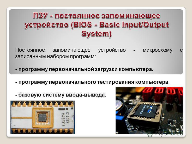 Постоянное запоминающее устройство - микросхему с записанным набором программ: - программу первоначальной загрузки компьютера. - программу первоначального тестирования компьютера. - базовую систему ввода-вывода.