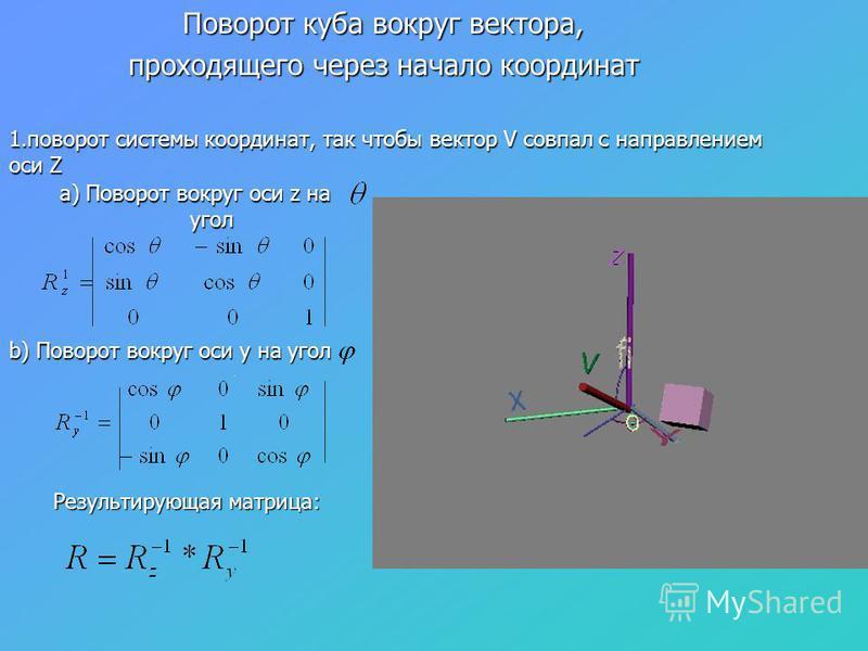 1. поворот системы координат, так чтобы вектор V совпал с направлением оси Z a) Поворот вокруг оси z на угол b) Поворот вокруг оси y на угол Результирующая матрица: Поворот куба вокруг вектора, проходящего через начало координат