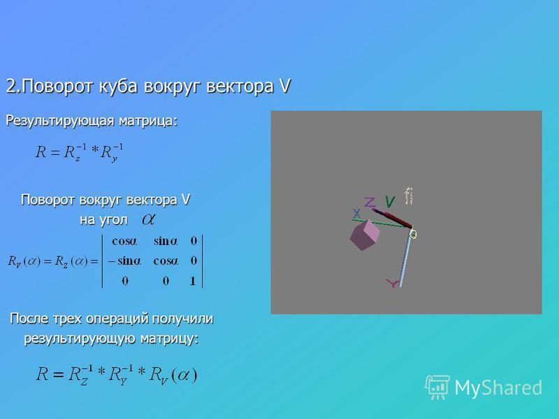 2. Поворот куба вокруг вектора V Поворот вокруг вектора V Поворот вокруг вектора V на угол После трех операций получили После трех операций получили результирующую матрицу: результирующую матрицу: Результирующая матрица: