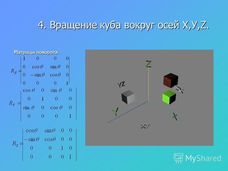 4. Вращение куба вокруг осей Х,У,Z. 4. Вращение куба вокруг осей Х,У,Z. Матрицы поворота: