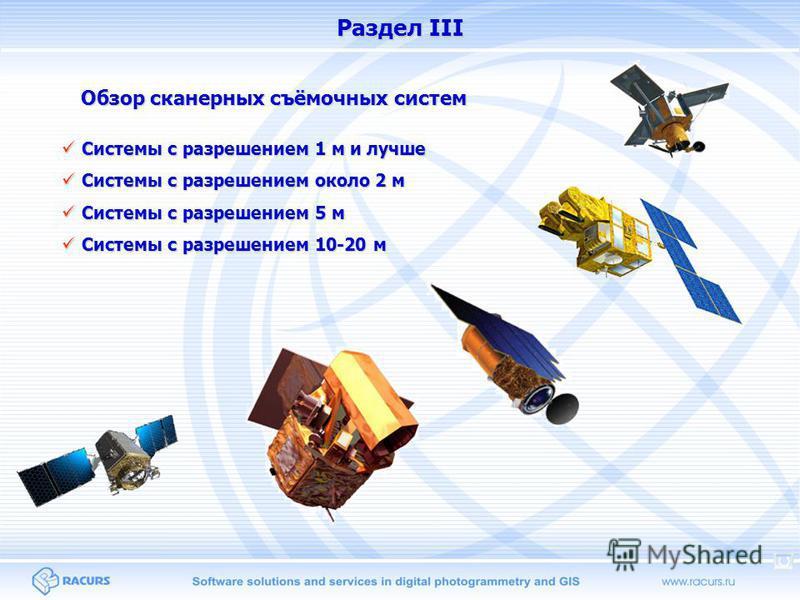 Раздел III Системы с разрешением 1 м и лучше Системы с разрешением 1 м и лучше Системы с разрешением около 2 м Системы с разрешением около 2 м Системы с разрешением 5 м Системы с разрешением 5 м Системы с разрешением 10-20 м Системы с разрешением 10-