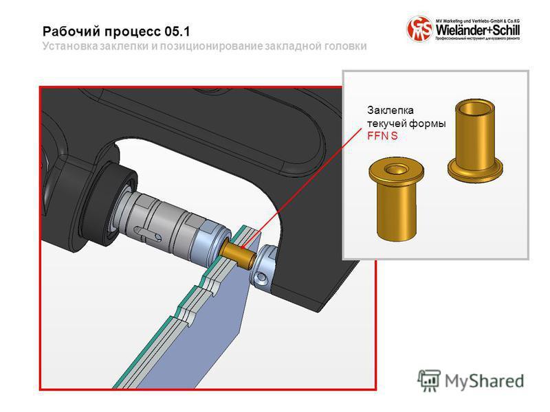 Рабочий процесс 05.1 Установка заклепки и позиционирование закладной головки Заклепка текучей формы FFN S