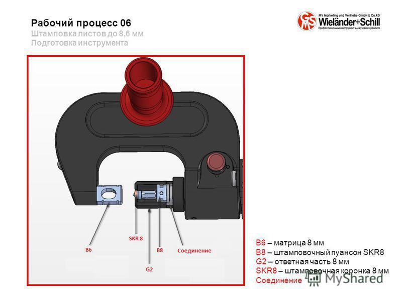 Рабочий процесс 06 Штамповка листов до 8,6 мм Подготовка инструмента B6 – матрица 8 мм B8 – штамповочный пуансон SKR8 G2 – ответная часть 8 мм SKR8 – штамповочная коронка 8 мм Соединение